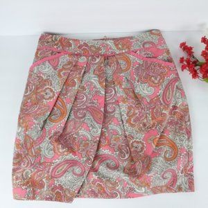 H&M Pink Paisley print Cross Front Pleated skirt
